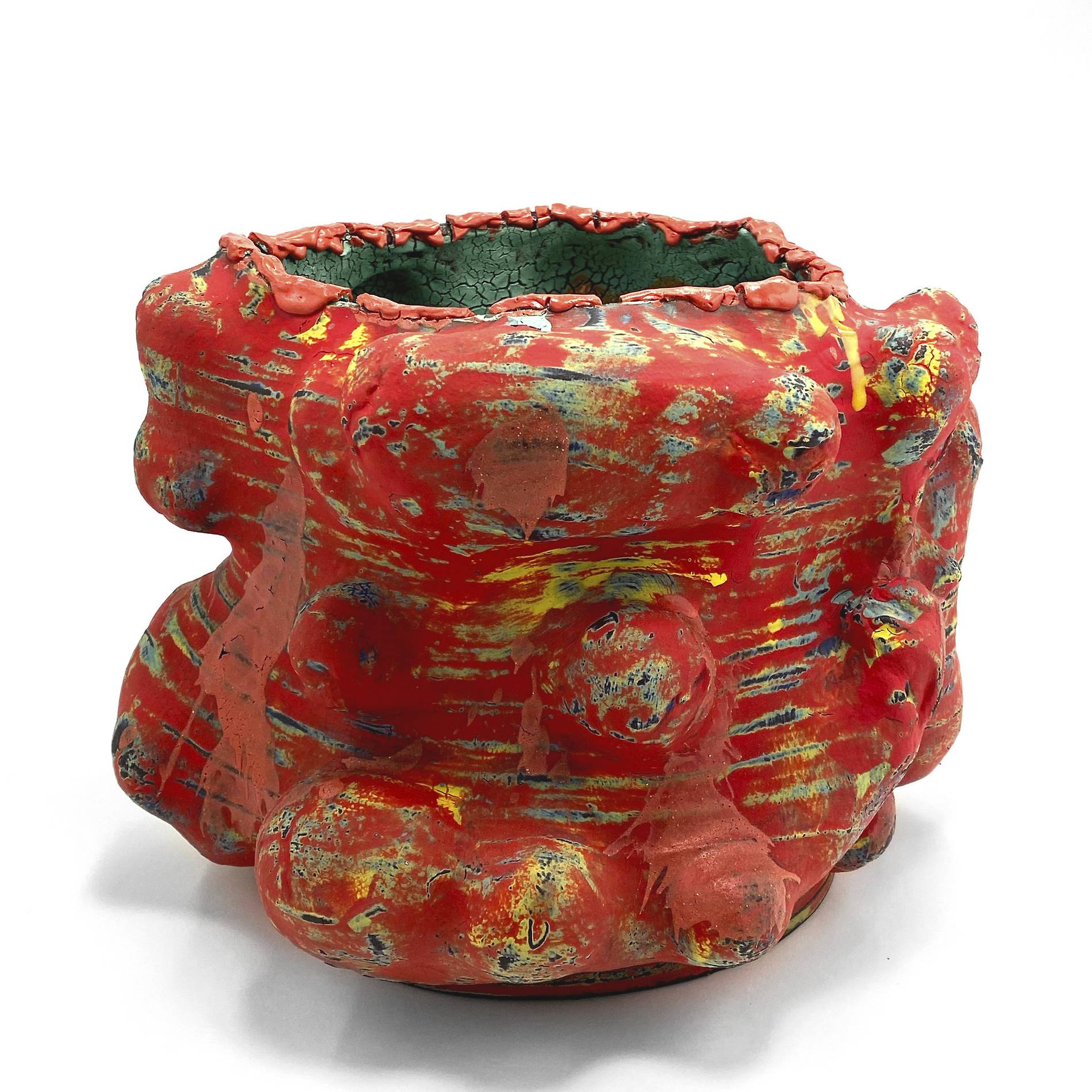 Vince_PalaciosAbraded_Vessel_Red,_2020Clay,_glaze,_various_slip_and_flux,_multiple_firing13_5_x_10_InchesCourtesy_of_ODD_ARK_•_LA.jpg